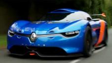 Renault Alpine A110-50 se předvádí za jízdy