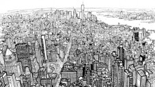 Patrick Vale nakreslil pár fixami pohled na Manhattan