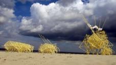 Theo Jansen ukazuje chůzi svých soch Strandbeests