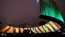 Taiwan ozářil obří světelný prstenec z bambusu