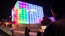 Rubikova kostka ovládá světla na fasádě budovy v Linci