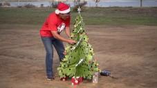Nad Kalifornií se proháněl létající Santa s ozdobeným stromem