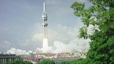 Žižkovská věž jako raketa je reklamou na novou Škodu Superb