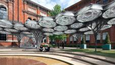 U londýnského V&A vyrostl s pomocí robotů Elytra Filament Pavilion