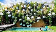 Zelená stěna nad bazénem v Madridu odráží světlo zrcadly