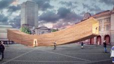 V Londýně staví usměvavý pavilon The Smile z ohýbaného dřeva