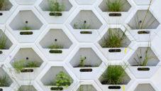 Living Wall na fasádě kombinuje zeleň s úkryty pro zvířata