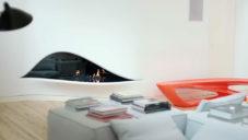 Amanda Levete ukazuje svůj londýnský byt s krbem ve stěně