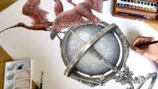 Steeven Salvat ukazuje náročnou ruční kresbu glóbu se sedícími ptáky