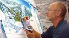 James Niehues ručně maluje mapy lyžařských středisek po celém světě