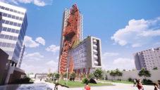 Pražská výšková budova Top Tower zdobená vrakem lodi se ukazuje na videu