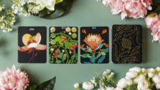 Botanica jsou zlatavé tarotové karty s barevnými ilustracemi květin
