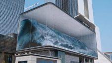 V Jižní Koreji vytvořili anamorfickou iluzi vlnobití v proskleném kvádru