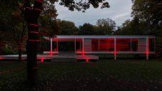 Luftwerk udělali laserovou projekci na víkendový dům od Miese van der Rohe
