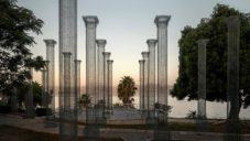 Edoardo Tresoldi v Kalábrii postavil 46 drátěných sloupů jako instalaci Opera