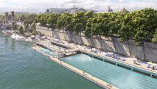 Na videu se ukazuje proměna bulváru Champs-Élysées a přilehlý plovoucí bazén